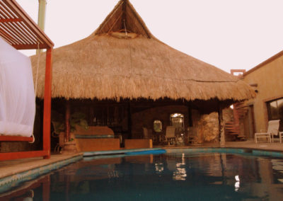 Pool, hanging bed and pool palapa